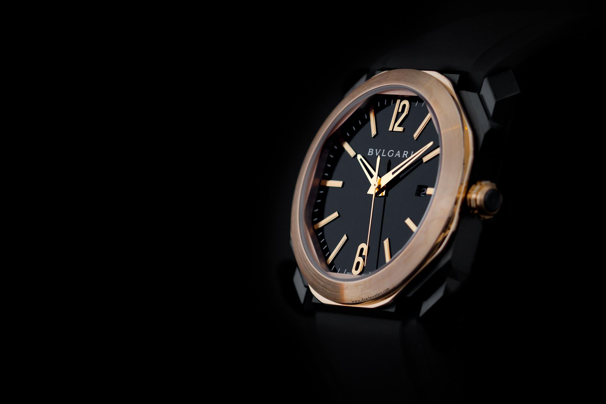 bulgari octo black & pink gold rubber strap ace jewelers amsterdam-1